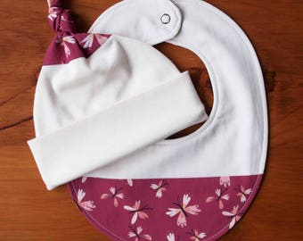 Butterfly Baby Hat, Bib Gift; Organic Cotton Baby Cap, Drool Bib; Pink and Purple Baby Shower Gift; Infant Beanie Teething Bib Set; Flutter