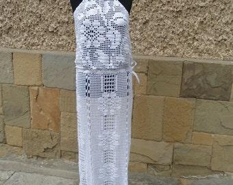 Crochet vestido de novia, vestido de novia alternativo, vestido blanco, vestido de blanco puro, vestido hecho a mano, vestido de boda de playa, vestido largo de Crochet