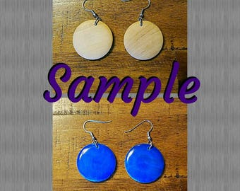 Glitter Round Wooden Earrings- Design It Your Way (DIYW)- (1 inch) - Qty :1