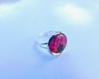 Real pink flower resin ring - adjustable