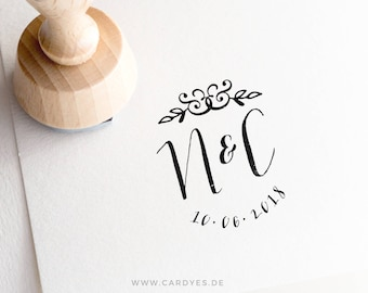 Wedding stamp • Custom rubber stamp •  Wedding logo • Stamp for Stationery • Wood Mounted Rubber