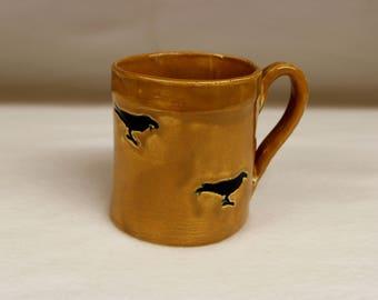 Crow Mug in Cocoa Brown, Coffee Mug, Stoneware Ceramic Mug