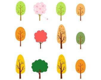 Trees Clip Art Set, Cute, Green, Autumn, Yellow, Various, Set, PNG