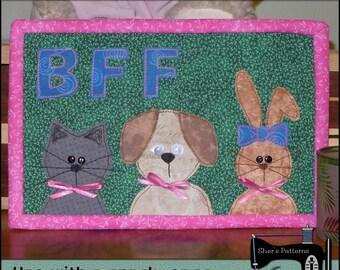 PDF Pattern forBFF Mug Rug, Best Friends Forever Mini Quilt Pattern, BFF Quilt - Sewing Pattern, Tutorial, DIY