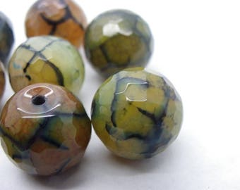 3 beads 16 mm ombre green madagascar agate veined green, orange, black dragon