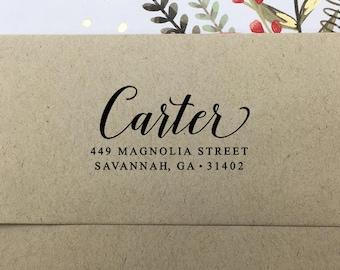 Custom Return Address Stamp, Self Inking Stamp, Wooden Rubber Stamp, Personalized Stamp, Family Name Stamp, Elegant Wedding Address Stamp