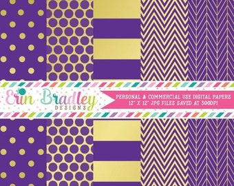 80% OFF SALE Digital Paper Pack Purple & Gold Commercial Use Digital Scrapbook Papers Polka Dots Stripes Herringbone and Chevron