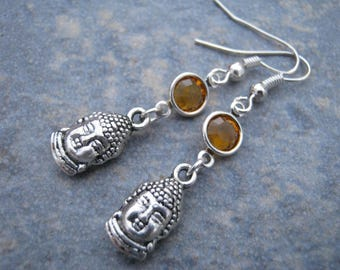 Buddha Birthstone Earrings, Personalized Buddha Earrings, Buddhist Earrings, Buddhism Jewelry, Yoga Gift, Dangle Earrings, Buddha Jewelry