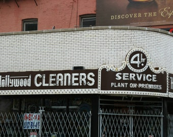 Chicago Photo, Wicker Park, HOLLYWOOD CLEANERS, Chicago Photography, Chicago Art, vintage neon sign, 40s, laundry, brown, white, chocolate