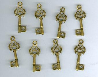 Small Key Charm, Set 8 Small 30mm Heart Antique Bronze Skeleton Key Charm