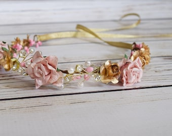 Handcrafted Baby Blush and Gold Flower Crown - Newborn Flower Crown - Small Flower Crown - Newborn Headband - Blush and Gold Wedding Crown