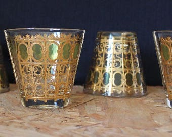 Culver Emerald Scroll Whiskey Glasses, Set of 4