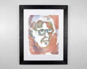 Woman with Green Glasses - Original Framed Watercolor