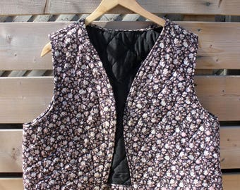 Quilted vest floral vest black waistcoat sleeveless jacket hippie vest bohemian jacket women size M medium