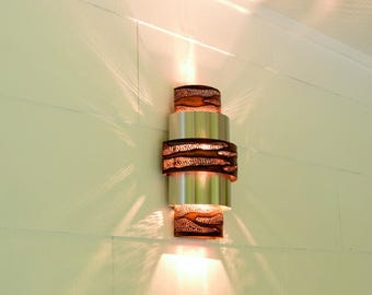 Burned Copper &  Stainless Steel Contemporary Wall Sconce | Up and Down Wall Lighting | Media Room Light | Handcrafted in Austin, Texas USA