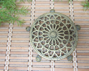 """Small Brass Claw Foot Flower Pot Stand Filigree 6"""" Diameter Asian Design Home Decor for Tiny Houseplants Holder Vintage FREE SHIPPING (709)"""