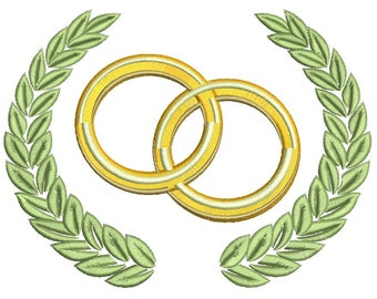 wedding rings and laurel wreath Machine Embroidery Design