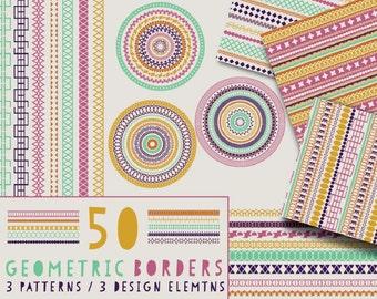 50 Geometric Border Brushes