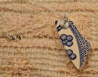 Broken China Wire Wrap Pendant Blue Willow Handmade with 28'' 925 Chain