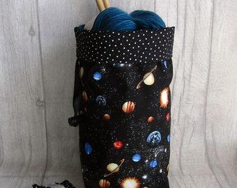 Space knitting project bag, Sock Project Bag, Constellations, Galaxy, Drawstring bag, Dice Bag