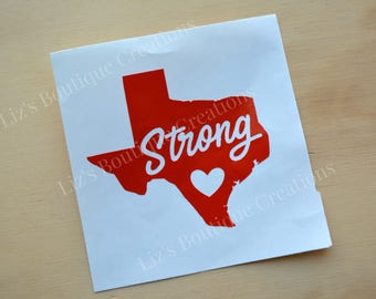 Texas Strong, Love Texas, heart Texas decal, Proceeds for Hurricane Harvey Victims,car decal, mug decal, relief for Texas, Texas sticker