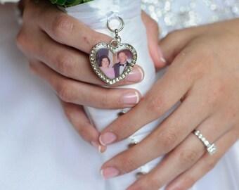 Wedding Bouquet Charm, Bridal keepsake, HEART, Personalized, custom photo or image