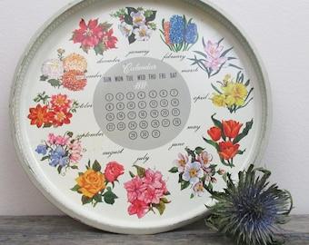 Vintage Flower Vanity Tray, Calendar, Home Organizer, Magnet Board, Gardener Gift, Backyard Decor