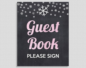 Winter Guest Book Sign, Pink Glitter Snowflake Guest Book Shower Table Sign, Chalkboard,  INSTANT PRINTABLE