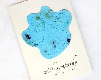 Plantable Pet Sympathy Card - Dog or Cat - Forget Me Not Flower Seeds