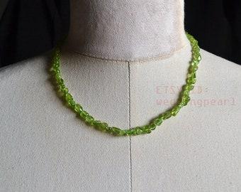 5-7mm irregular olivine necklace, single strand light green bead necklace,woman necklace,green necklace, fayalite necklace