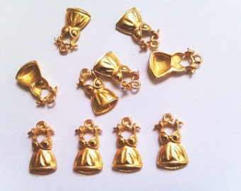 10pcs Gold tone Cute Dress Charm size 10mm x 19 mm