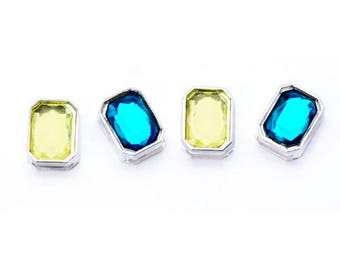 Silver Gem Sliders - Lime and Teal - 4 pieces
