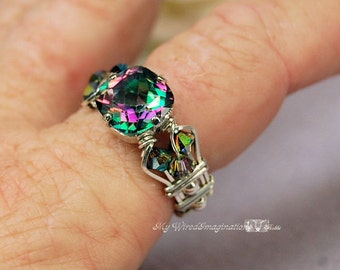 LAST ONE Rainbow Mystic Topaz, BRILLIANT Faceted Cut, 10mm Cushion, Handmade Wire Wrapped Ring, Unique Engagement, November Birthstone Topaz