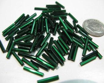 Emerald Green Size 5 Czech Bugle Bead, 12mm long Bugle bead, Fringe Bugle Bead, Embroidery Bugle Bead