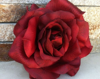 Wedding Hair Flower-Marsala Red Rose Hair Clip-Scarlet Realistic Rose Fascinator-Christmas Gift-Red Wedding-Rose Hair Piece-Classic Rose-50s