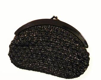 Vintage Woven Clutch Purse / Black Boho Evening Bag / Vintage Raffia Purse with Black Frame / Large Bohemian Clutch