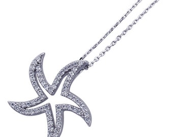 "16""+2"" Platinum Plated Sterling Silver CZ Pave Set Star Fish Pendant Necklace(HBHB15P0366A)"
