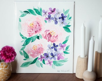 11 x 14 Watercolor Floral Original Art // Botanical Art