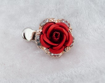Red Metal Crystal Rose Small Hair Clip, 'Teeny tiny Hair Clips'
