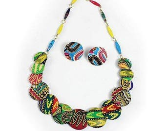 African Disk Necklace with Earrings