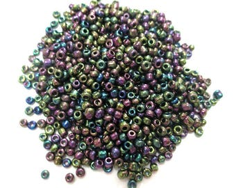 10 grams seed beads purple brown green glass 2mm (about 800 beads)