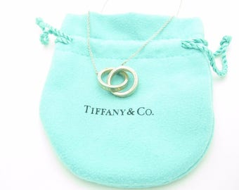 """Tiffany & Co. Sterling Silver 1837 Collection Interlocking Circles Necklace 15"""""""
