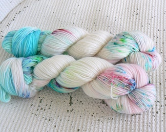 Dolls House - Hand Dyed Speckled Luxury Sock Yarn - Superwash Merino Cashmere Nylon - Pink Blue Green