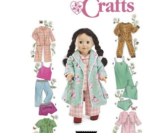 """Sewing Pattern for 18"""" Doll Wardrobe , Simplicity Pattern 5276, Doll Clothes Pattern, Sleepwear, Panties, Robe for American Girl Doll 18"""""""