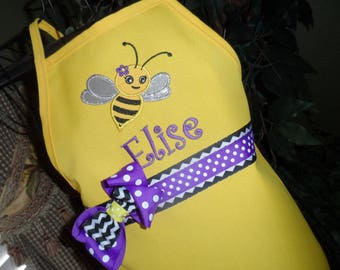 Bee Apron, Personalized Embroidery, Apron With Name, Birthday Party Favor, Birthday Apron, Yellow and Purple Apron, Cute Bug, Girly Apron