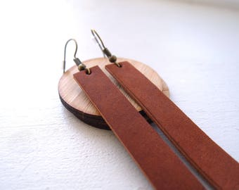 Leather dangle drop earrings lightweight in Horween rich tan leather, inspired by HGTV's Joanna Gaines earrings / boho / 3rd anniversary