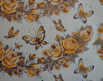 Vintage 1950s Gift Wrap All Occasion Floral Print- Golden Butterflies and Roses 1 Sheet Wrapping Paper