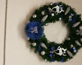 32 Inch Winter Wonderland Wreath - Blue and Silver