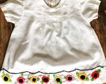 Antique baby girl dress with hand embroidered flowers