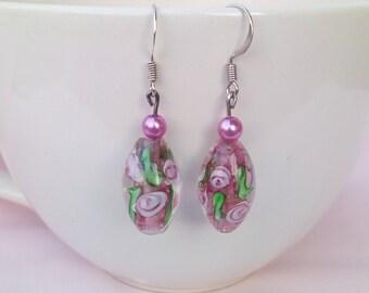 Bohemian pink flowers imitation Murano Lampwork Glass earrings